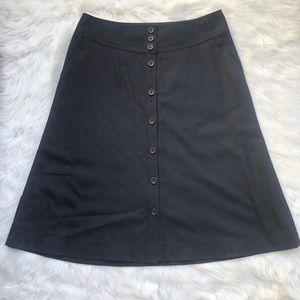 Banana republic wool a line button black skirt 10